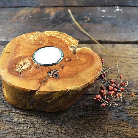 Teelichthalter Apfelholz