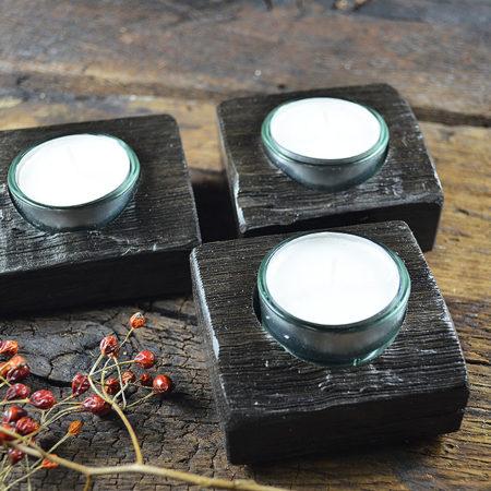 Teelichthalter Mooreiche