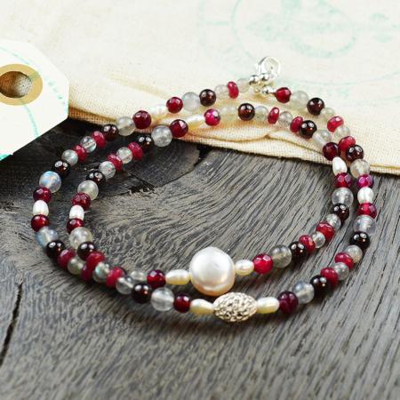 Doppelarmband Labradorit, Jade, Granat & Perlen
