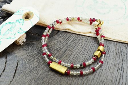 Doppelarmband Labradorit & Rote Jade